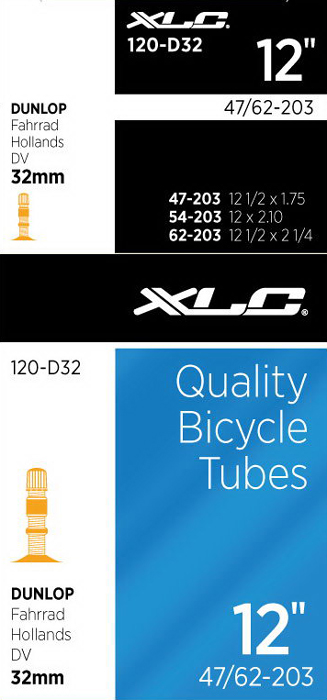 Xlc Bicycle Inner Tube 12 X 1/2 X 2 1/4 Dunlop Valve 32Mm