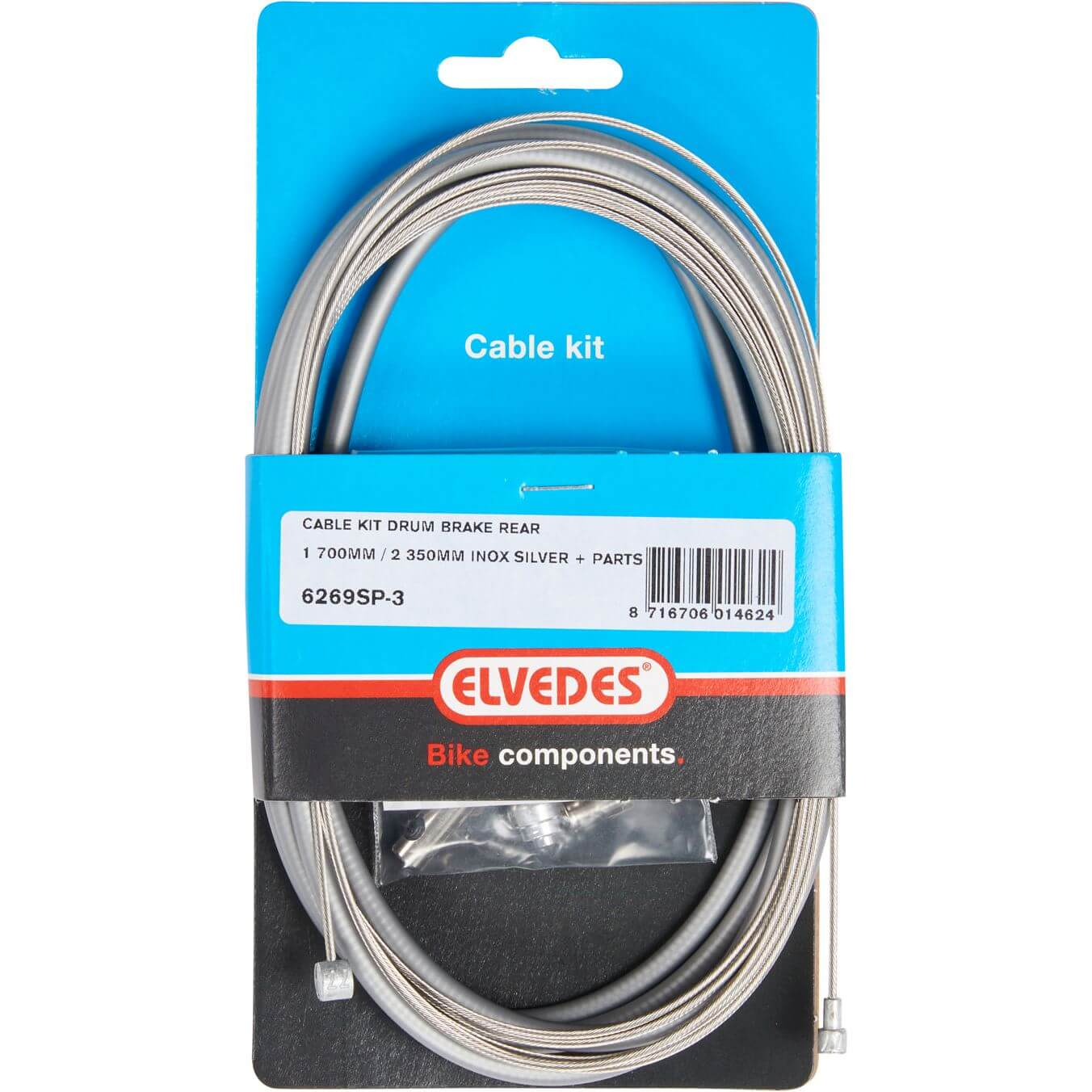 Elvedes Brake Cable Set Drum Brake Rear Complete Inox Gray