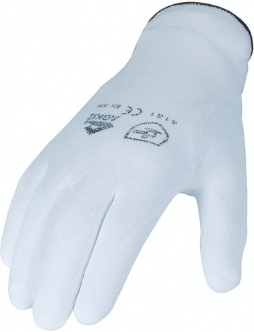 Asatex Fine Knit Gloves with PU Coating White Size 8