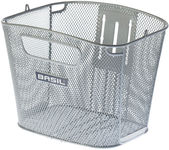 Basil Bicycle Basket Bold Front Fixed Assembly Front - Silve