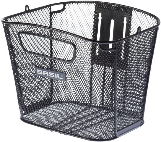 Basil Bicycle Basket Bold Front Fixed Assembly Front - Black