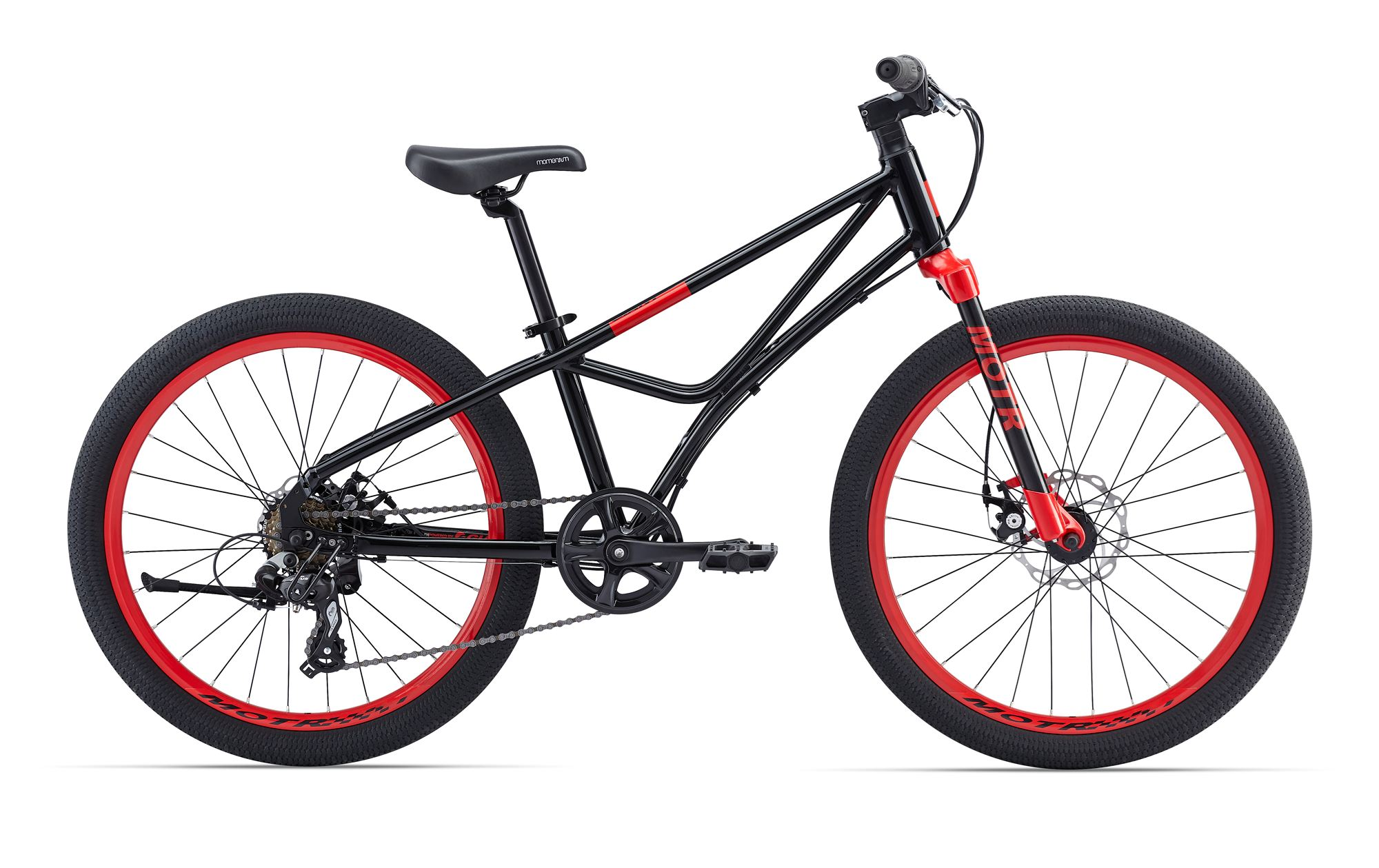 Giant Motr 24 Boys Bicycle 24 Inch 7S Disc - Black/Red