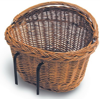 HBS Rattan Bicycle Basket with Hooks - Natural
