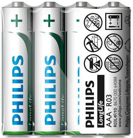 Philips Batteries Longlife Micro R03 AAA (4)
