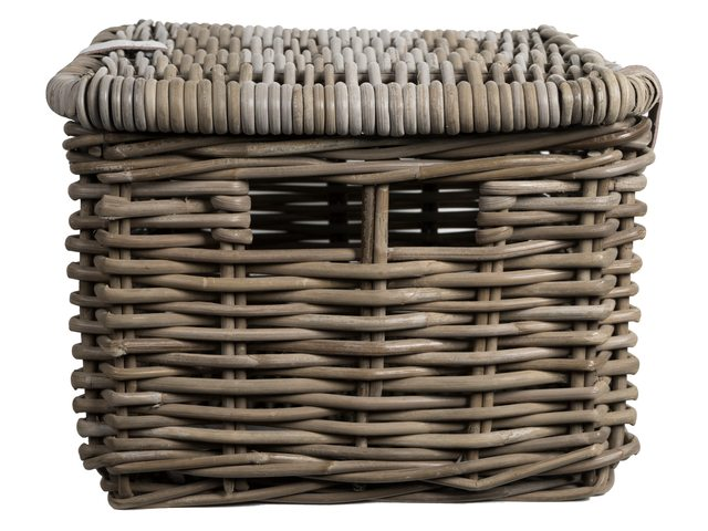 FastRider Bicycle Basket Rectangular with Lid - Rattan 26L