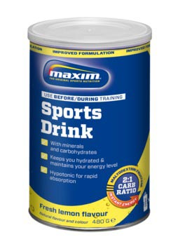 Maxim Sports Drink Powder Fresh Lemon in Can 480g