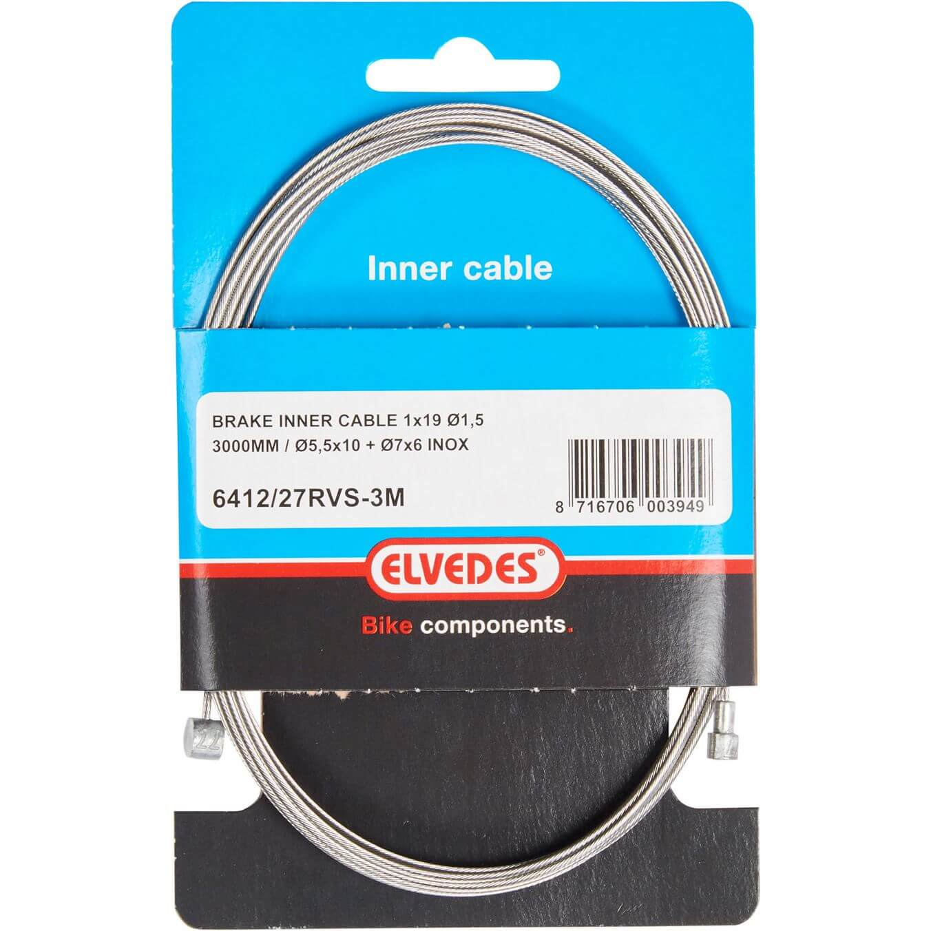 Brake Cable Rear 2 Nipple 3Mtr Stainless 641227