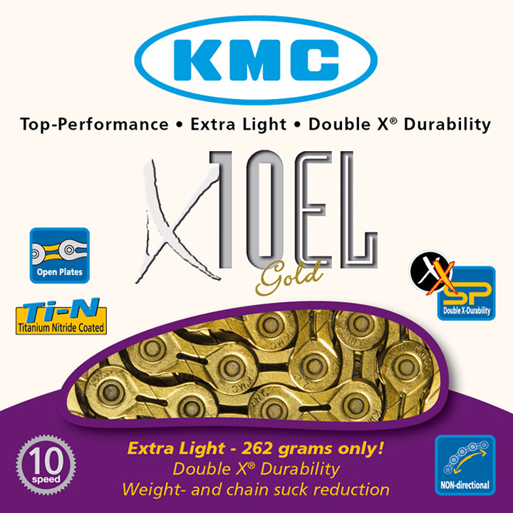 Kmc Bicycle Chain 10 Speed 11/128 Gold Extra Light