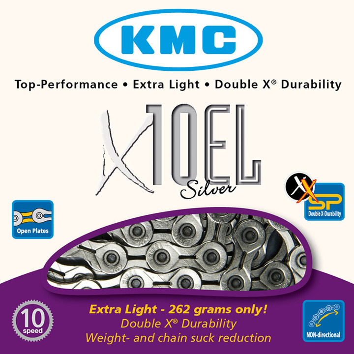 Kmc Bicycle Chain 10 Speed 11/128 Silver Extra Light