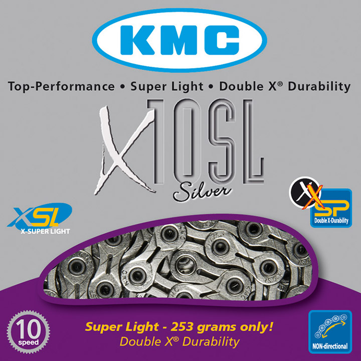 Kmc Bicycle Chain 10 Speed 11/128 Silver Superlight