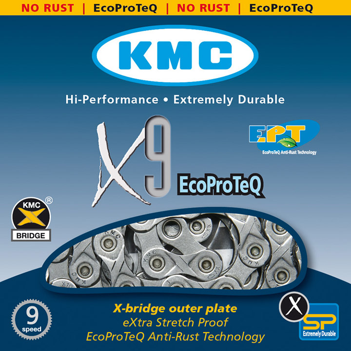 KMC Bicycle Chain X9EPT 11/28 Inch 116 Left 9S