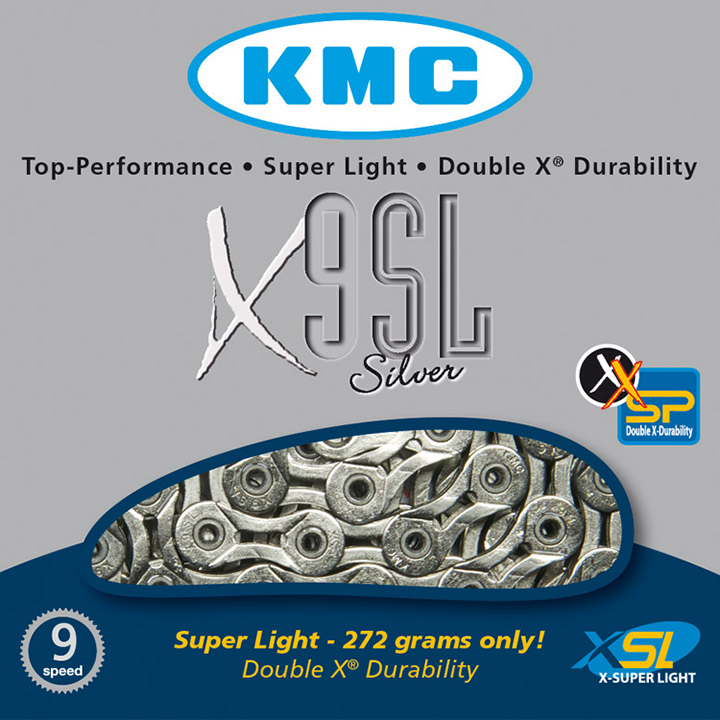 KMC Bicycle Chain X9 SL Silver 9 Speed 1/2 x 11/128 Silver