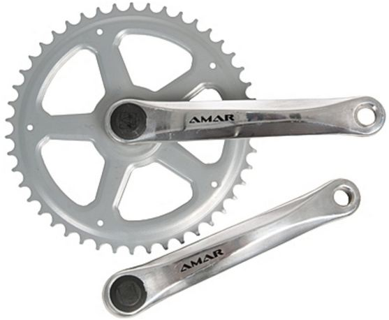 Amar Crankset 4-Edge 170mm Alu 46T Ring From Steel Silver