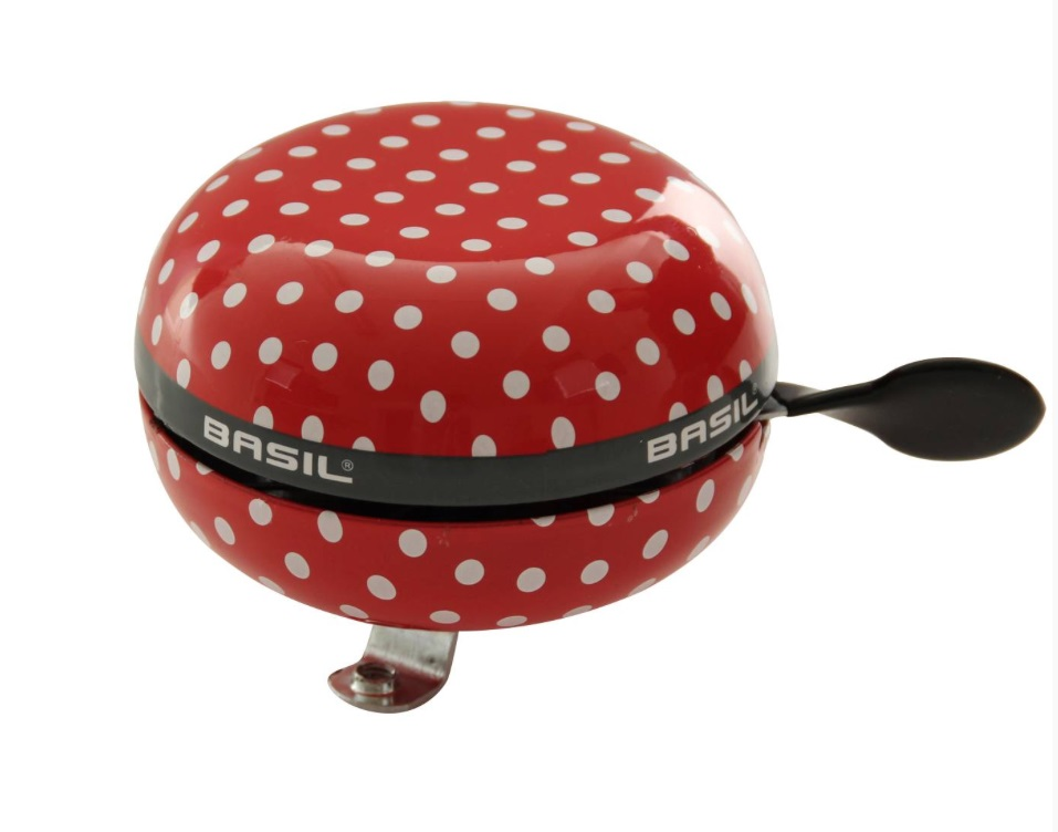 Basil Bicycle Bell Ding Dong 80mm Polkadot Red/White
