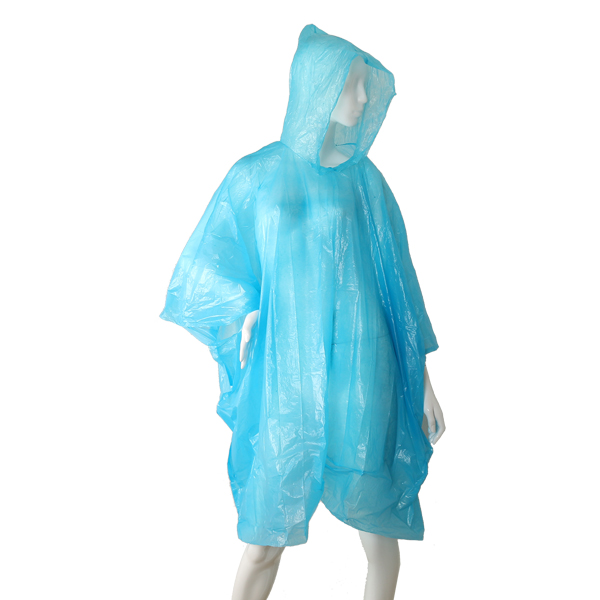 HBS Poncho Disposable Transparent - Blue