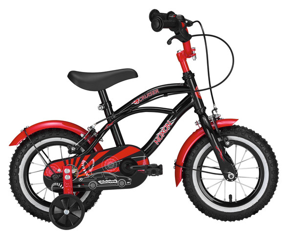 Noxon Boys Bike Cruiser 12 Inch Black/Red